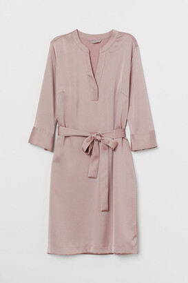 H&M Dress with Tie Belt - Pink