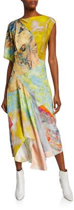 Thierry Mugler Asymmetric Painted Patchwork Dress