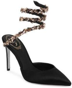 Rene Caovilla Crystal Snake Satin Point-Toe Pumps