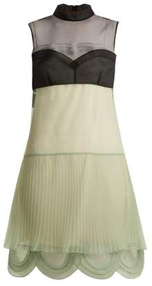 Prada - Cigaline Contrast Panel Pleated Organza Dress - Womens - Green Multi