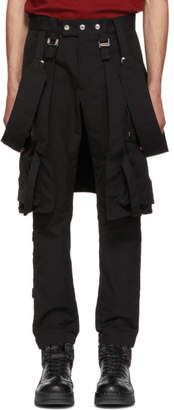 ALMOSTBLACK Black Utility Trousers With Straps