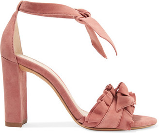 Alexandre Birman - Lupita Ruffle-trimmed Suede Sandals - Antique rose $625 thestylecure.com