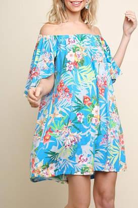 Umgee USA Turquoise Floral Dress