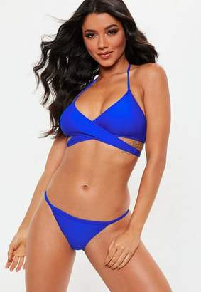 Missguided Blue Cross Front Bikini Top - Mix & Match