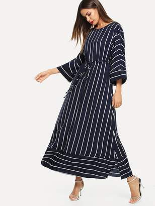 Shein Vertical Striped Drawstring Waist Maxi Dress