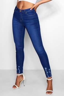 boohoo High Waisted Skinny With Distressed Hem Jeans