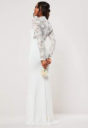 Missguided Bridesmaid White Long Sleeve Lace Back Maxi Dress