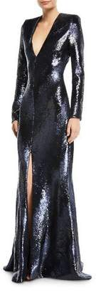 Rubin Singer Plunging Long-Sleeve Fitted Sequined Evening Gown