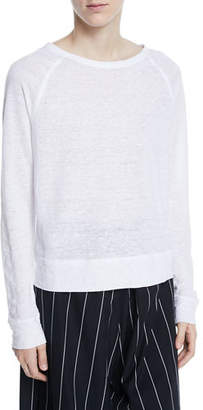 Vince Raglan Crewneck Long-Sleeve Linen Top