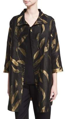Caroline Rose Gold-Leaf Jacquard Party Jacket