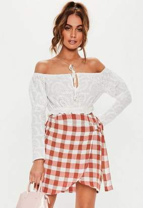 Missguided Red Gingham Wrap Mini Skirt