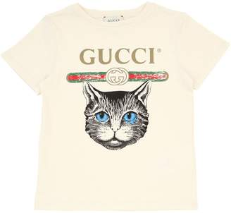 Gucci Cat Print Cotton Jersey T-Shirt