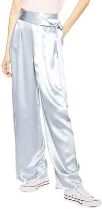 Topshop Belted Satin Wide Leg Pants
