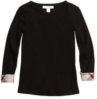 Burberry Tulisa Check-Cuff Long-Sleeve Tee, 4-14Y $85 thestylecure.com