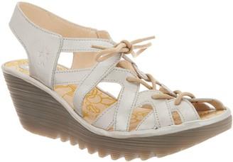 Fly London Leather Lace Up Wedge Sandals - Yapi
