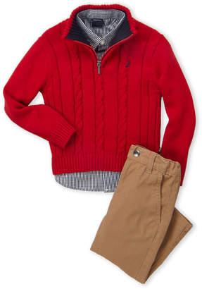 Nautica Toddler Boys) 3-Piece Cable Knit Sweater & Khakis Set
