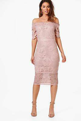 boohoo NEW Womens Boutique Off Shoulder Lace Midi Dress in Polyester