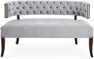 "Haute House Babette 54"" Settee - Light Gray Velvet"