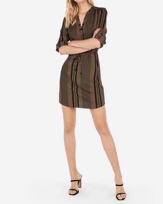 Express Striped Tie Waist Long Sleeve Shirt Dress