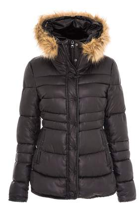 Quiz Black and Beige Padded Faux Fur Collar Jacket