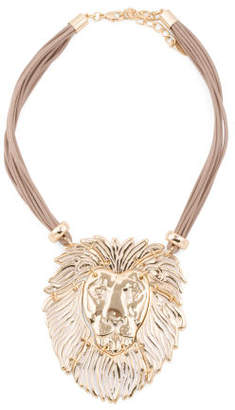 Lion Head Necklace On Cord