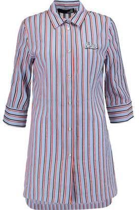 Love Moschino Appliquéd Striped Cotton-Poplin Shirt