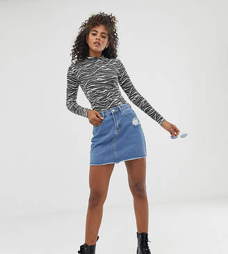 Missguided Tall a-line denim mini skirt in blue