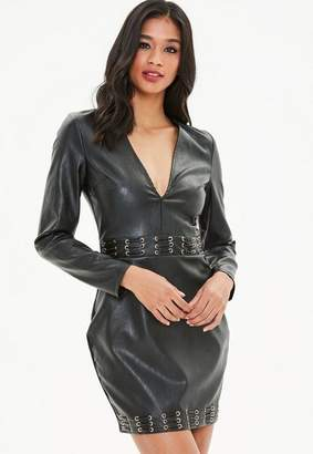 Missguided Black Faux Leather Metal Eyelet Bodycon Dress