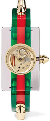 Gucci Plexiglass And Gold-tone Watch - Green