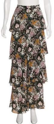 A.L.C. Silk Ruffle-Accented Maxi Skirt