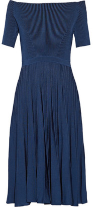 Jason Wu - Off-the-shoulder Ribbed Stretch-knit Dress - Storm blue $1,195 thestylecure.com