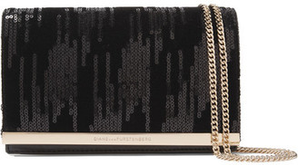 Diane von Furstenberg - Soirée Embellished Velvet And Leather Shoulder Bag - Black $200 thestylecure.com