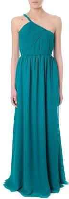 Lanvin Green Silk One-shoulder Long Dress
