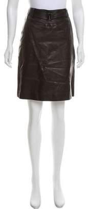 Prada Belted Leather Skirt