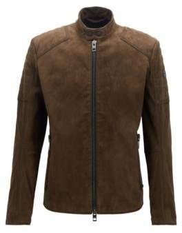 BOSS Hugo Slim-fit biker jacket hand-treated suede outer 38R Dark Green