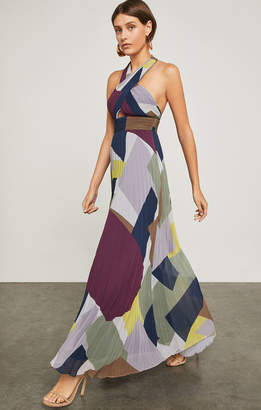 BCBGMAXAZRIA Pleated Colorblocked Halter Gown