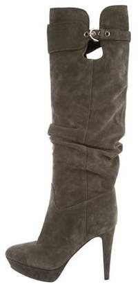 Sergio Rossi Pointed-Toe Suede Knee-High Boots