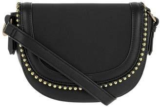 Accessorize Studded Saddle Bag - Black