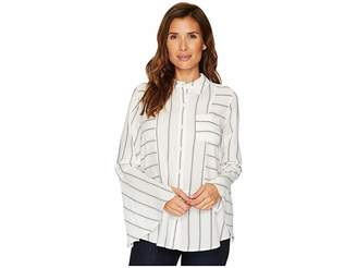Vince Camuto Bell Sleeve Yarn-Dye Stripe Collared Shirt Women's T Shirt
