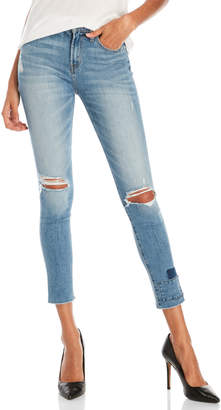Flying Monkey Distressed Uneven Hem Skinny Jeans