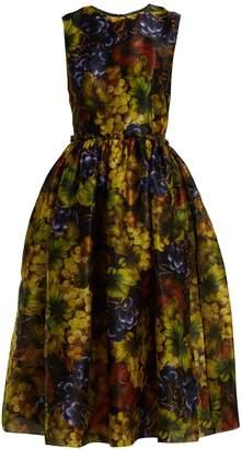 Dolce & Gabbana Grape-print silk-organza midi dress