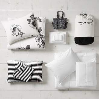 Pottery Barn Teen The Emily & Meritt Bed Of Roses Black/Ivory Deluxe Move-In Bundle, Twin/Twin XL