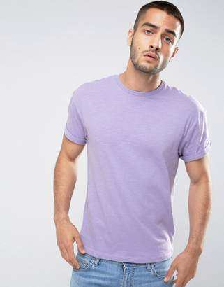 New Look T-Shirt With Roll Sleeve In Lilac