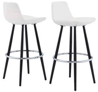 Mainstays Upholstered Bucket Seat Bar Stool, Set of 2, White