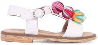 Faux Patent Leather Sandals W/ Pompoms