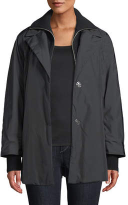 Lafayette 148 New York Arie Zip-Front Parka Jacket w/ Knit Zip-Out Collar