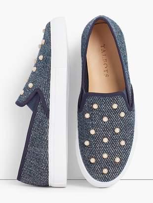 Talbots Pearl Embellished Denim Sneakers