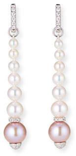 BELPEARL 18k White Gold Elegant Dangling Diamond 2-Tone Pearl Earrings