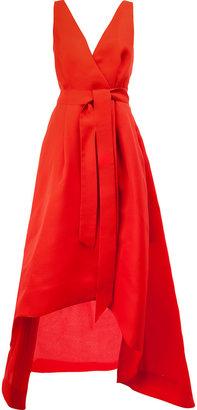 tie waist long evening gown