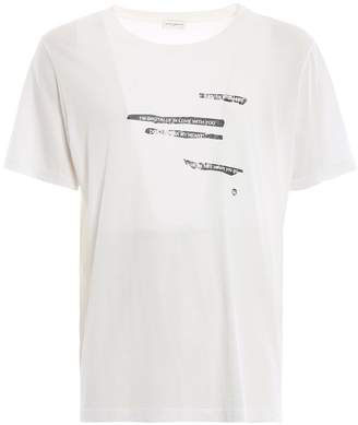 Saint Laurent Faded Slogan Print T-shirt